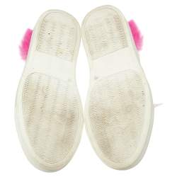 Philipp Plein White/Pink Leather Slumber Party Low Top Sneakers Size 37