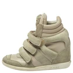Philipp Plein Beige Leather And Suede Skull High Top Sneakers Size 37
