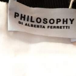 Philosophy di Alberta Ferretti White & Pink Cotton Floral Print Lace Insert Maxi Skirt L