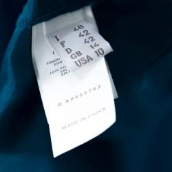 Philosophy di Alberta Ferretti Teal Blue Cut Out Applique Detail Silk Dress L