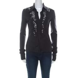 Philosophy Di Alberta Ferretti Dark Grey Wool Embellished Ruffle Detail Long Sleeve Top M