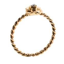Piaget Rose Motif Diamond 18K Rose Gold Ring Size 53