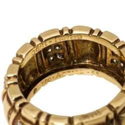 Piaget Diamond 18K Yellow Gold Wide Band Ring Size 53