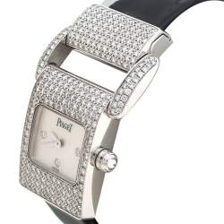 Piaget Mother of Pearl 18K White Gold Diamond Miss Protocole 5225 Women's Wristwatch 17MM