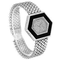 Piaget Silver Onyx Diamonds 18k White Gold Vintage Cocktail 9523 Women's Wristwatch 28 x 35 MM