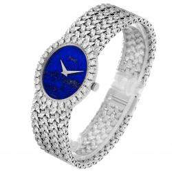 Piaget Lapis Lazuri Blue Diamonds 18K White Gold Vintage 9814 Women's Wristwatch 27x 24 MM