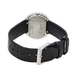 Piaget Silver 18K White Gold Leather Diamonds Possession GOA36187 Women's Wristwatch 29 mm