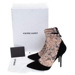 Pierre Hardy Black Suede Leather And Pink Floral Fabric Pointed Toe Ankle Boots Size 38.5
