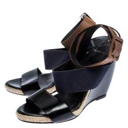 Pierre Hardy Tri Color Leather and Canvas Ankle Strap Wedge Sandals Size 39
