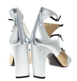 Pierre Hardy Metallic Silver/Gold Cut Out Leather Lula Sandals Size 42