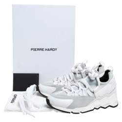 Pierre Hardy White/Grey Neoprene And Leather Lace Up Sneaker Size 36