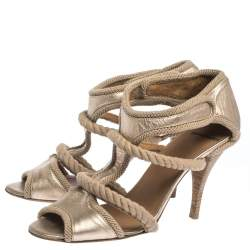Pierre Hardy Gold Leather And Beige Rope Caged Sandals Size 40