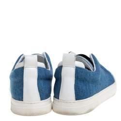 Pierre Hardy Blue Denim Slip On Sneakers Size 37