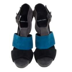 PIERRE HARDY Multicolor Tricolor Suede Open Toe Sandals Size 40