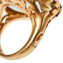 Pomellato Arabesque Prasiolite Quartz 18K Rose Gold Cocktail Ring Size 49