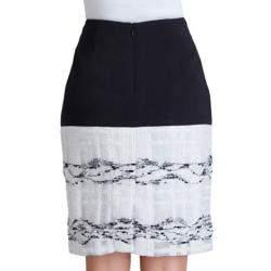 Prabal Gurung Black and White Wool-Crepe Organza-Trim Skirt L