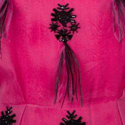 Prabal Gurung Pink Embellished Feather Detail Silk Dress M