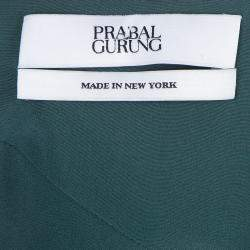 Prabal Gurung Green Chiffon Draped Asymmetric Skirt S