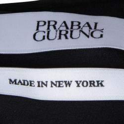 Prabal Gurung Black Rosette Applique Detail Sleeveless Silk Blouse M