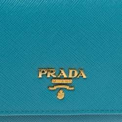 Prada Turquoise Saffiano Lux Leather Flap Continental Wallet