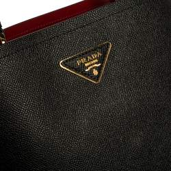 Prada Black Saffiano Leather Medium Panier Top Handle Bag