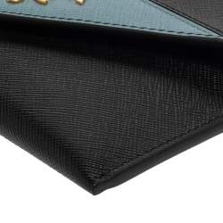 Prada Black/Blue Saffiano Leather Letter Wallet