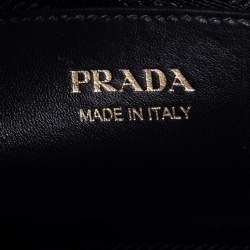 Prada White/Black Saffiano Lux And City Leather Medium Esplanade Satchel