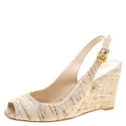 Prada Beige Tweed Fabric Peep Toe Slingback Wedge Sandals Size 40