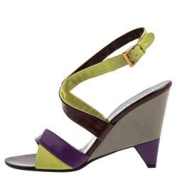 Prada Tricolor Leather Ankle Strap Wedge Sandals Size 39