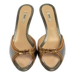 Prada Metallic Grey/Gold Leather Double Bow And Crystal Embellished Sculptured Heel Slide Sandals Size 39