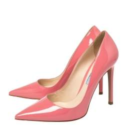 Prada Pink Patent Leather Pointed Toe Pumps Size 37