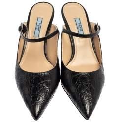 Prada Black Croc Embossed Leather Pointed Toe Mules Size 39