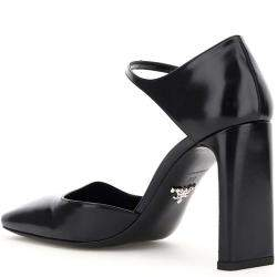 Prada Black Square-toe Leather Mary Jane Pumps Size IT 38