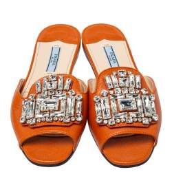 Prada Orange Leather Crystal Embellished Flat Slides Size 36