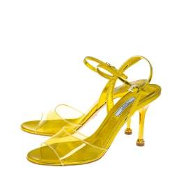 Prada Yellow Leather And PVC  Ankle Strap Sandals Size 40