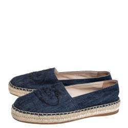 Prada Navy Blue Canvas Logo-Embroidered Denim Espadrilles Flats Size 35.5