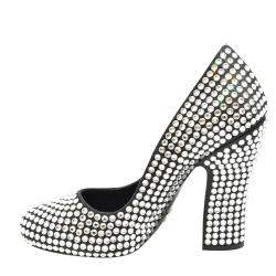 Prada Black Satin Crystal Embellished Block Heel Pumps Size EU 39