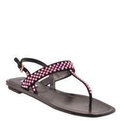 Prada Black Crystal embellished Slide Sandals Size EU 36