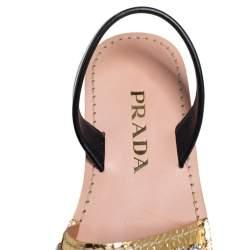 Prada Gold/Black Python Embossed Leather Slingback Sandals Size 39.5