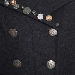 Prada Sport Grey Wool and Alpaca Button Embellished Double Breasted Coat S