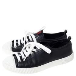 Prada Sport Black Leather Cap Toe Sneakers Size 35.5