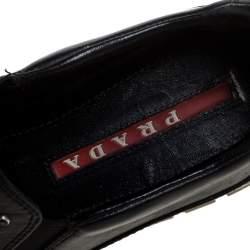 Prada Sport Black Leather Studded Slip On Sneakers Size 37