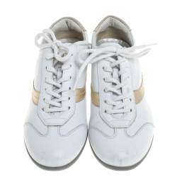 Prada Sports White Leather Lace Up Low Top Sneakers Size 35.5