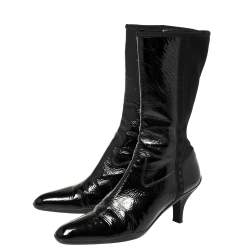 Prada Sport Black Patent Leather And Fabric Mid-Length Boots Size 39.5
