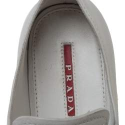 Prada Sport Light Grey Leather Espadrille Derby Sneakers Size 36