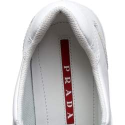 Prada Sport White Leather Lace Up Sneakers Size 37.5