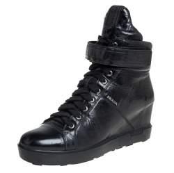 Prada Sport Black Leather Wedge Sneakers Size 40