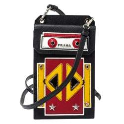 Prada Multicolor Saffiano Leather Robot Cellphone Bag