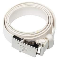Prada White Satin Logo Plaque Belt 95CM