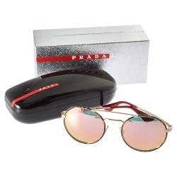 Prada Dark Havana Brown/ Pink Mirrored SPR 51S Cinema Round Sunglasses